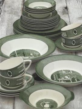 Colonial Homestead green & white transferware, vintage Royal china dishes