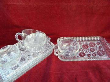 Colonial Lady bullseye sandwich pattern vintage pressed glass snack sets
