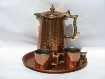 Colonial Ware hammered copper coffee set, pot w/ sugar, cream pitcher on tray