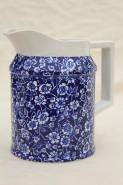 Colonial calico blue & white chintz china pitcher, new old stock vintage Japan