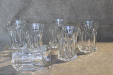Colonial panel pattern heavy pressed glass tumblers, vintage Heisey EAPG drinking glasses