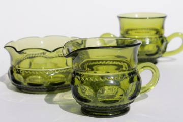 Colony King's Crown green glass cream & sugar set, mayonnaise or sauce bowl