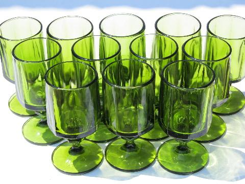 Colony Nouveau, retro chunky mod green glass goblets, 12 wine glasses