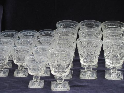 Colony Park Lane Pattern Glass Stemware 10 Vintage Water