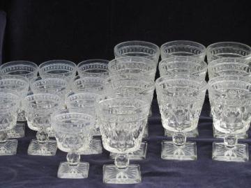 Colony Park Lane pattern glass stemware, 10 vintage water goblets wine glasses