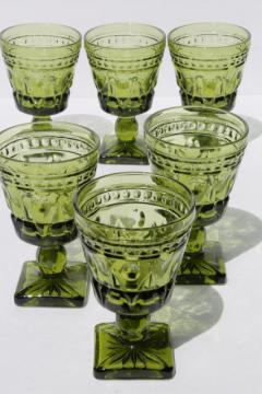 Colony Park Lane vintage avocado green glass goblets, 70s retro glassware set