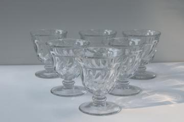 Colony pattern Fostoria crystal clear pressed glass cocktail glasses, vintage stemware