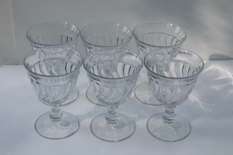Colony pattern vintage Fostoria crystal clear pressed glass water glasses or wine goblets