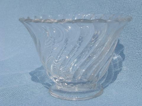 Colony vintage Fostoria glass mayo or sauce bowl, creamer & sugar sets