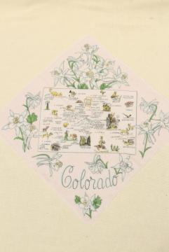 Colorado state map print hanky, 50s 60s vintage souvenir handkerchief