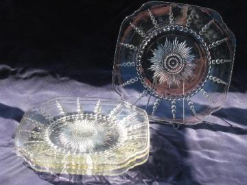 Columbia bubble pattern vintage Federal depression glass plates, set of 4