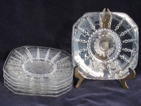 Columbia bubble pattern vintage Federal depression glass plates, set of 6