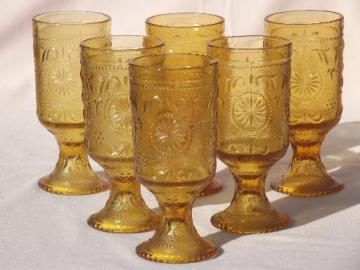 Concord daisy pattern sandwich glass tumblers, vintage amber gold glasses