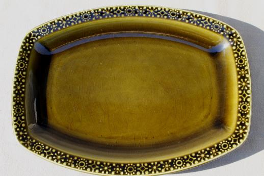 Connemara Celtic vintage Irish Erin green pottery serving platter