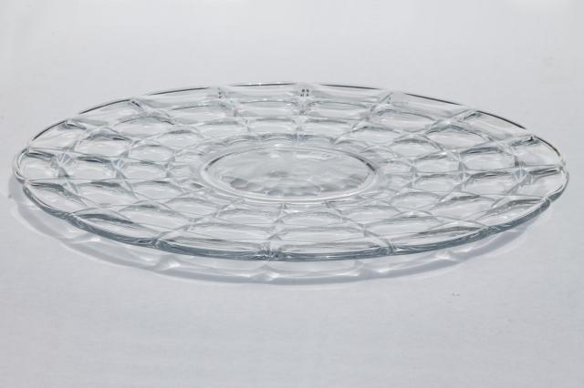 Constellation fruit intaglio Indiana glass round platter, sandwich server tray or cake plate