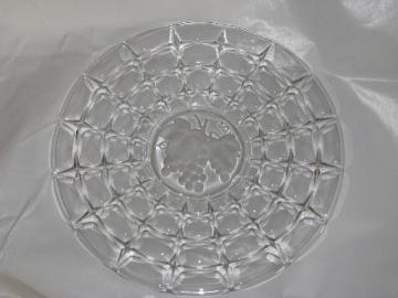 Constellation pattern cake or torte plate, vintage Indiana glass w/ fruit intaglio