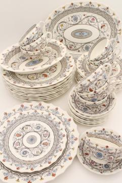 Copeland Spode Florence multicolored transferware china, vintage dinnerware service for 8