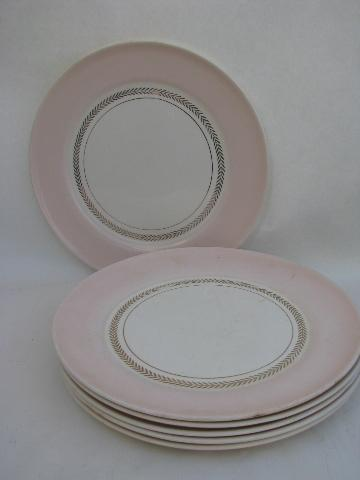 Coral Pink border vintage American Limoges china dinner plates set of 6 & Coral Pink border vintage American Limoges china dinner plates set ...