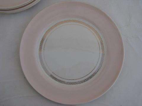 Coral Pink border, vintage American Limoges china dinner plates, set of 6