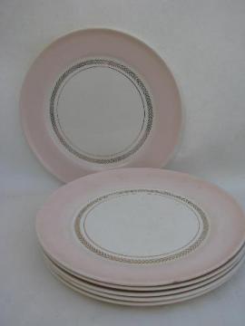 Coral Pink border, vintage American Limoges china dinner plates, set of 6