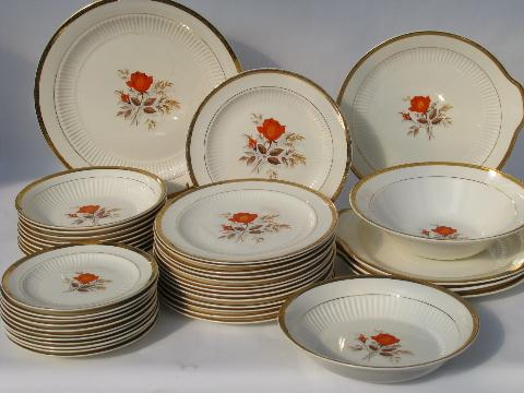 Coral-orange roses vintage china dishes retro LaMode pottery dinnerware - plates bowls & fine china and vintage dinnerware