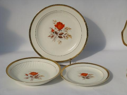 Coral-orange roses vintage china dishes retro LaMode pottery dinnerware - plates bowls platters & Coral-orange roses vintage china dishes retro LaMode pottery ...