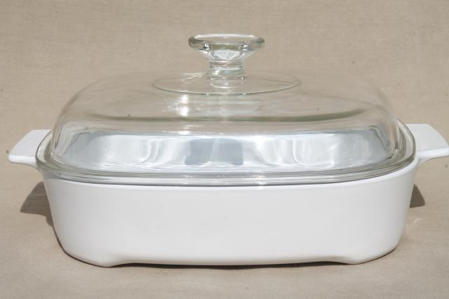 Corning Ware Microwave Browning Dish Large Corningware Cerole Pan W Clear Gl Lid