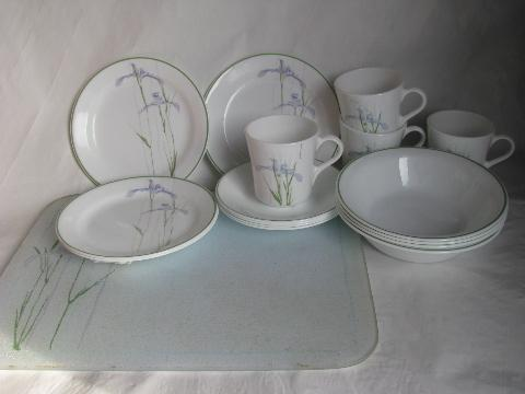 Corning Glass Corelle Shadow Iris Pattern Dishes For 4 W