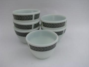 Corning glass vintage ramekins or custard cups, Grecian Gray
