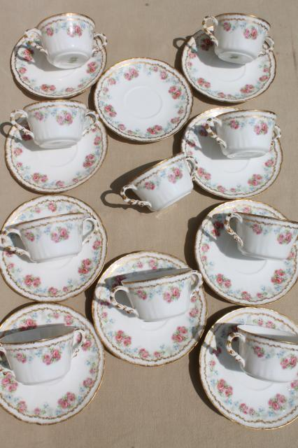 Coronet Limoges vintage china bullion cups & saucers, set of 10 ...
