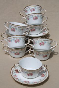 Coronet Limoges vintage china bullion cups & saucers, set of 10 double handled soups