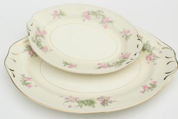 Countess pink floral vintage Homer Laughlin Eggshell Georgian, large & small platters or trays