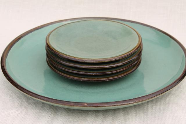 Country Fare Or Red Wing Village Green Stoneware Pottery Platter Plates