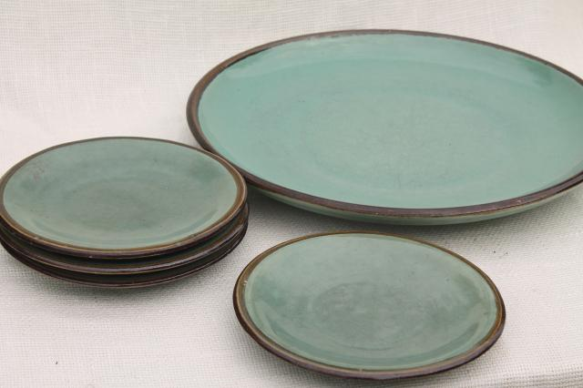 Country Fare or Red Wing Village Green stoneware pottery, big platter & plates