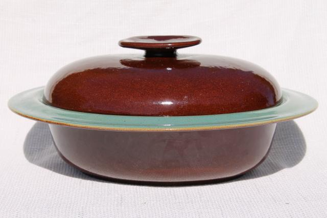 Country Fare or Red Wing Village Green stoneware pottery, dome cover & deep platter