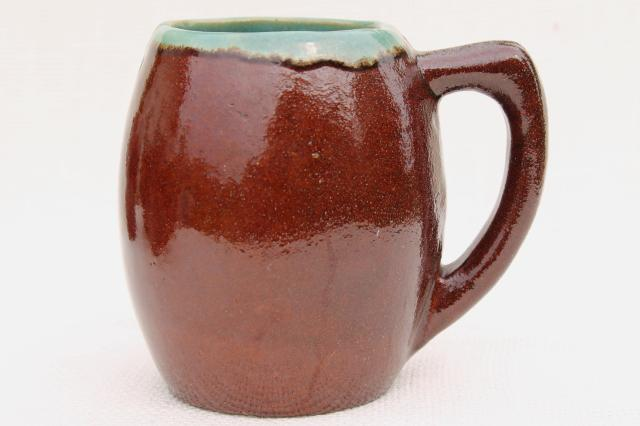 Country Fare or Red Wing Village Green stoneware pottery, large beer steins, mugs or cider cups
