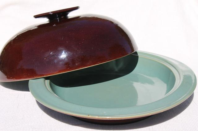 Country Fare or Red Wing Village Green stoneware pottery, large dome cover & deep platter