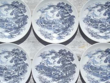 Countryside blue & white vintage Wedgwood china dinner plates set of 6