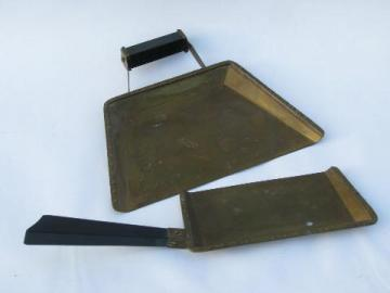 Craftsman / Arts & Crafts vintage solid brass silent butler crumb pan set