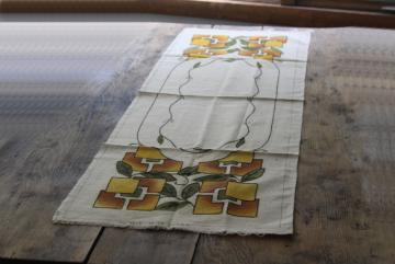 Craftsman Mission Arts & Crafts vintage flax linen table runner w/ tinted embroidery