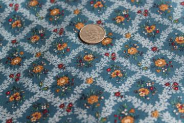 Cranston Print Works cotton fabric, 80s vintage prairie style roses on teal green