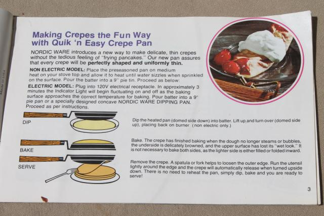 crepes n things vintage nordicware pan instructions recipes cookbook