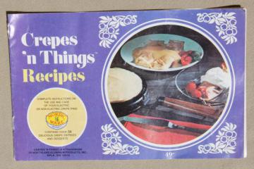 Crepes 'n Things vintage NordicWare pan instructions & recipes cookbook