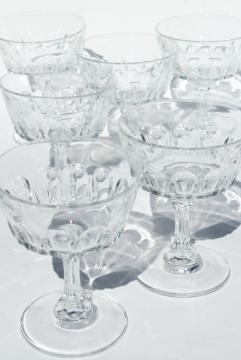 Cris d'Arques Arcoroc France Petale crystal clear glass coupe champagne glasses