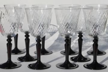 Cristal D'Arques France goblets, wine or water glasses Onyx black stem / crystal clear bowls
