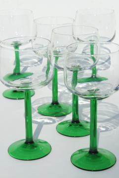 Cristal d'Arques France hock wine glasses, crystal clear bowl w/ green stem