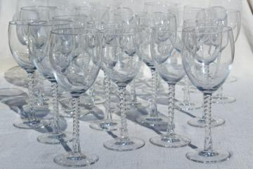Cristal d/Arques Sophia twist stem goblets, crystal clear French glass water & wine glasses