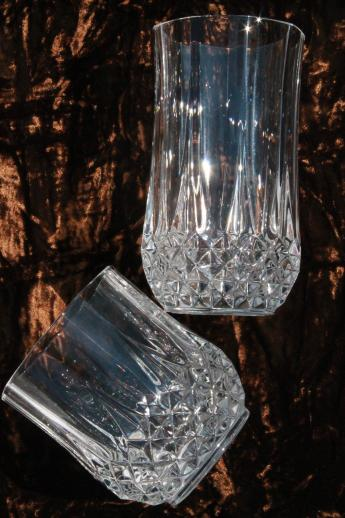 Cristal d'arques Longchamp french crystal tumblers, high ball & low ball glasses
