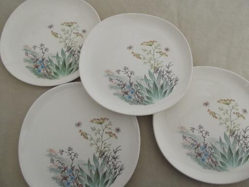 & Crooksville Iva-Lure wildflower dinner plates vintage china dinnerware