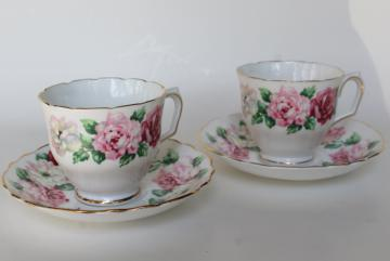 Crown Staffordshire vintage bone china teacups, two cup & saucer sets w/ pink roses